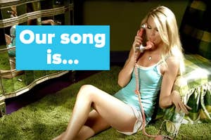 "a picture of Taylor on the phone from the music video with the words ""Our song is..."""