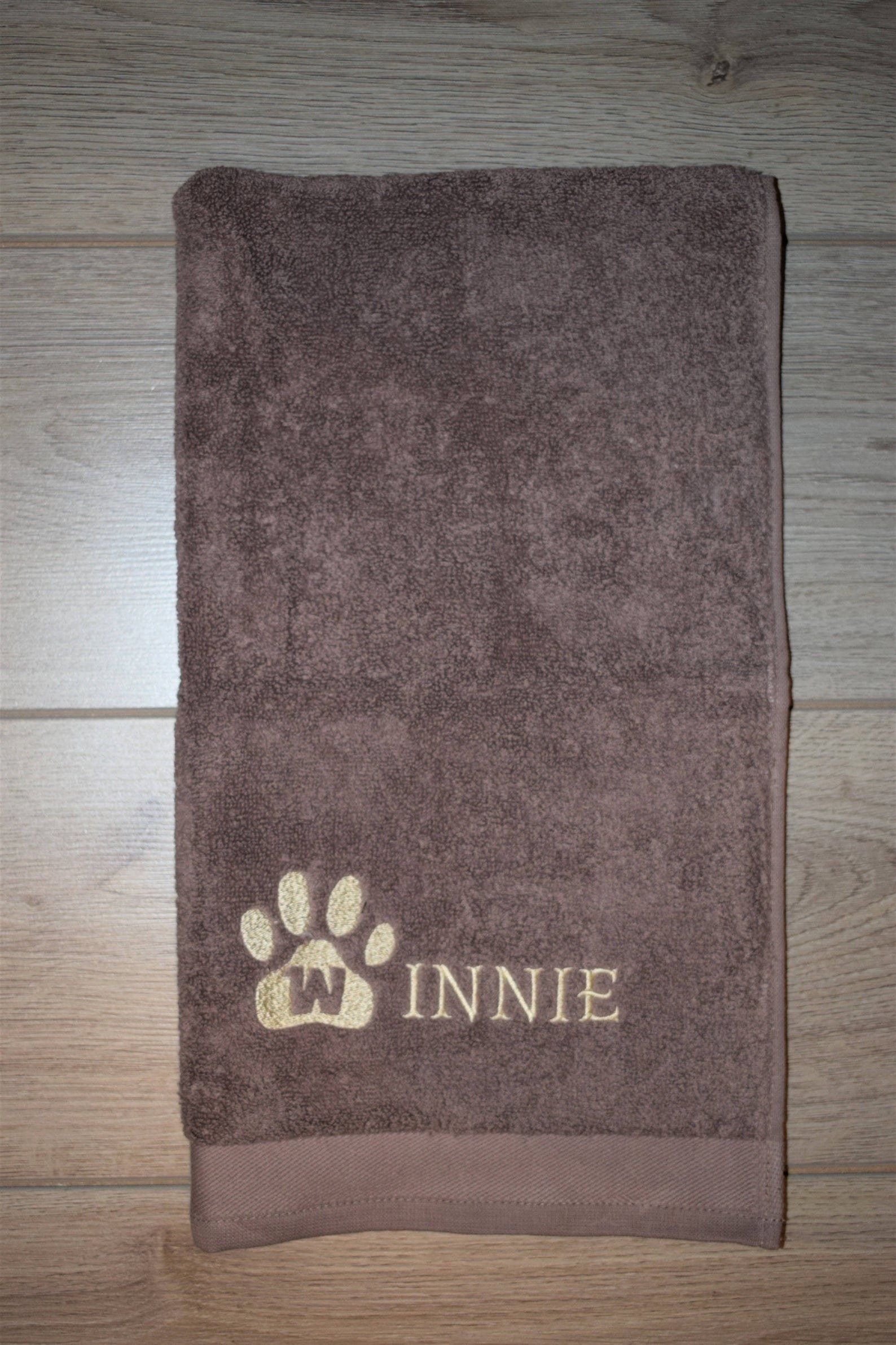 The towel with a personalization on it
