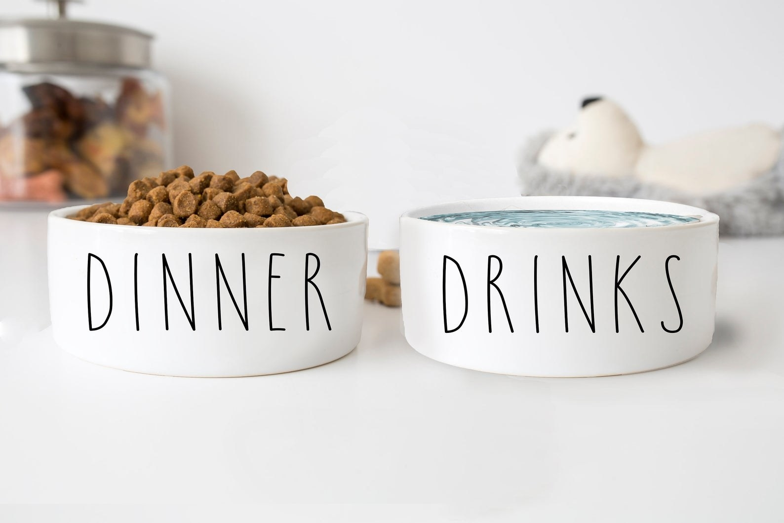 "The white food and water bowls with ""dinner"" and ""drinks"" printed on the sides"