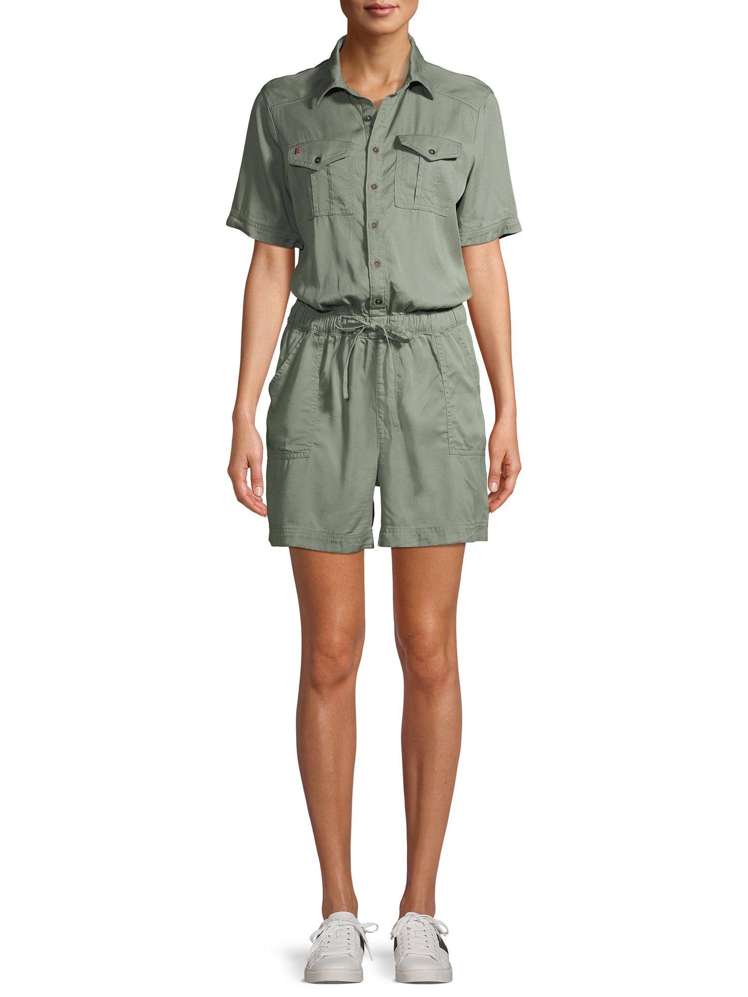 Model in green khaki tie-waist romper