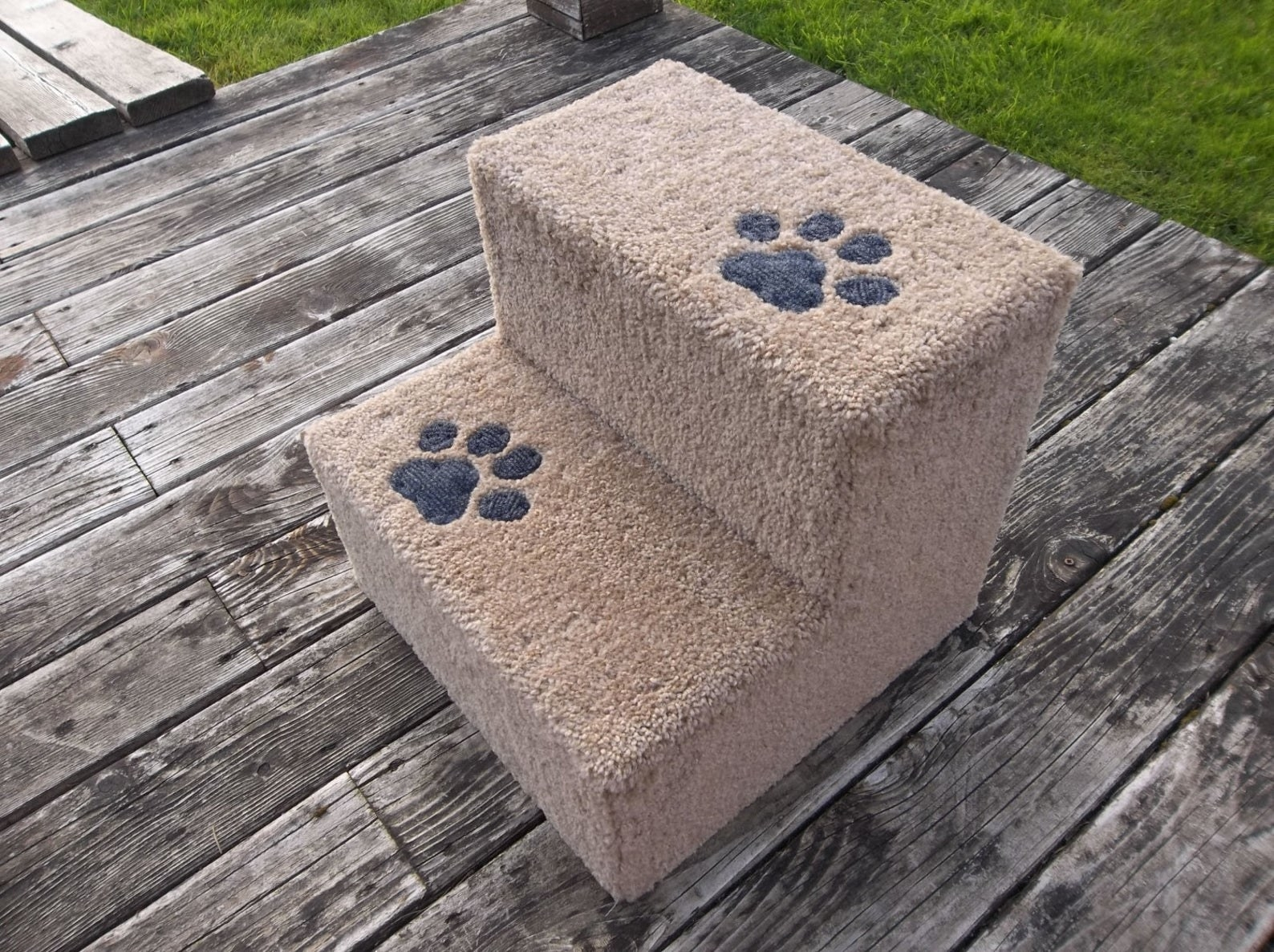 The steps with two platforms and little paw prints on them. It is covered in beige carpeting