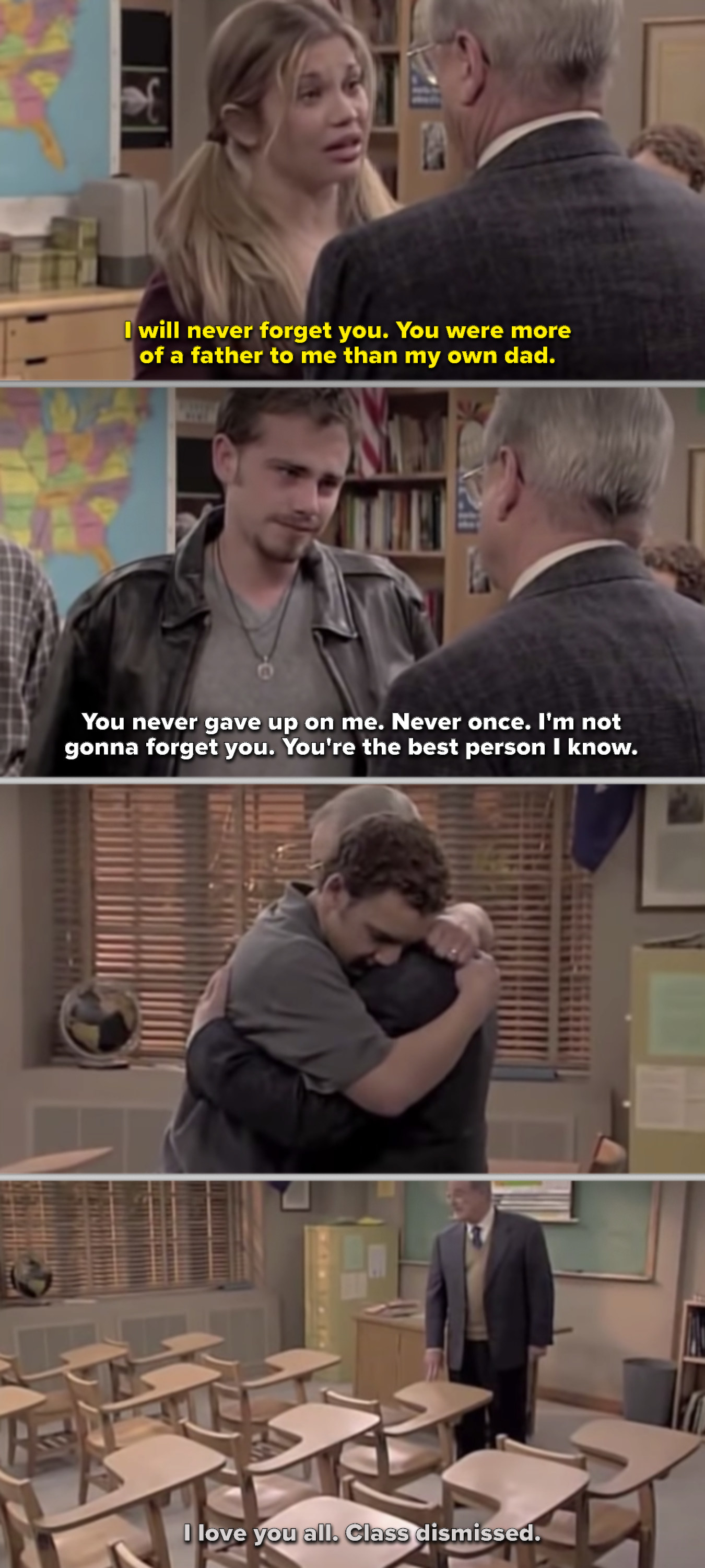 Topanga, Cory, and Shawn saying goodbye to Mr. Feeny, then Mr. Feeny dismissing his classroom one final time