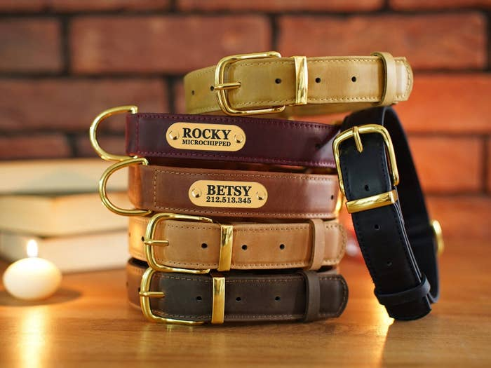 A stack of leather collars with gold plated name engravings
