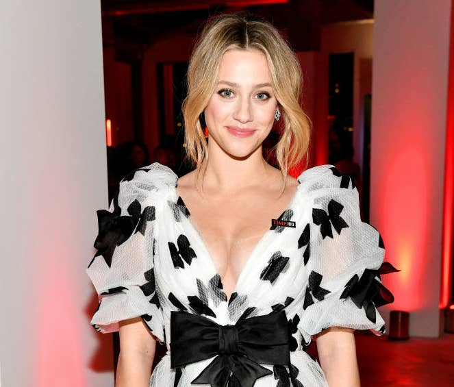 Lili Reinhart wearing a bow-covered dress at a Hollywood event
