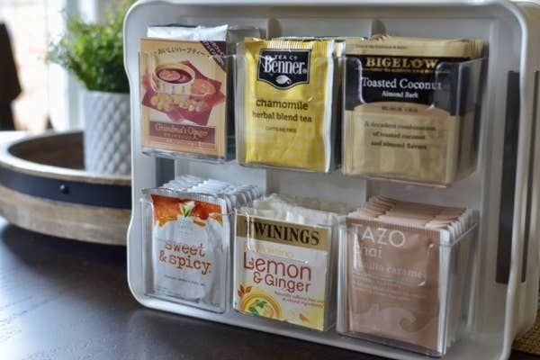 a reviewer's teas all organized in the container