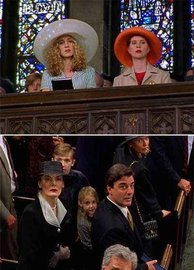 Carrie and Miranda spying on Big and his mom at church