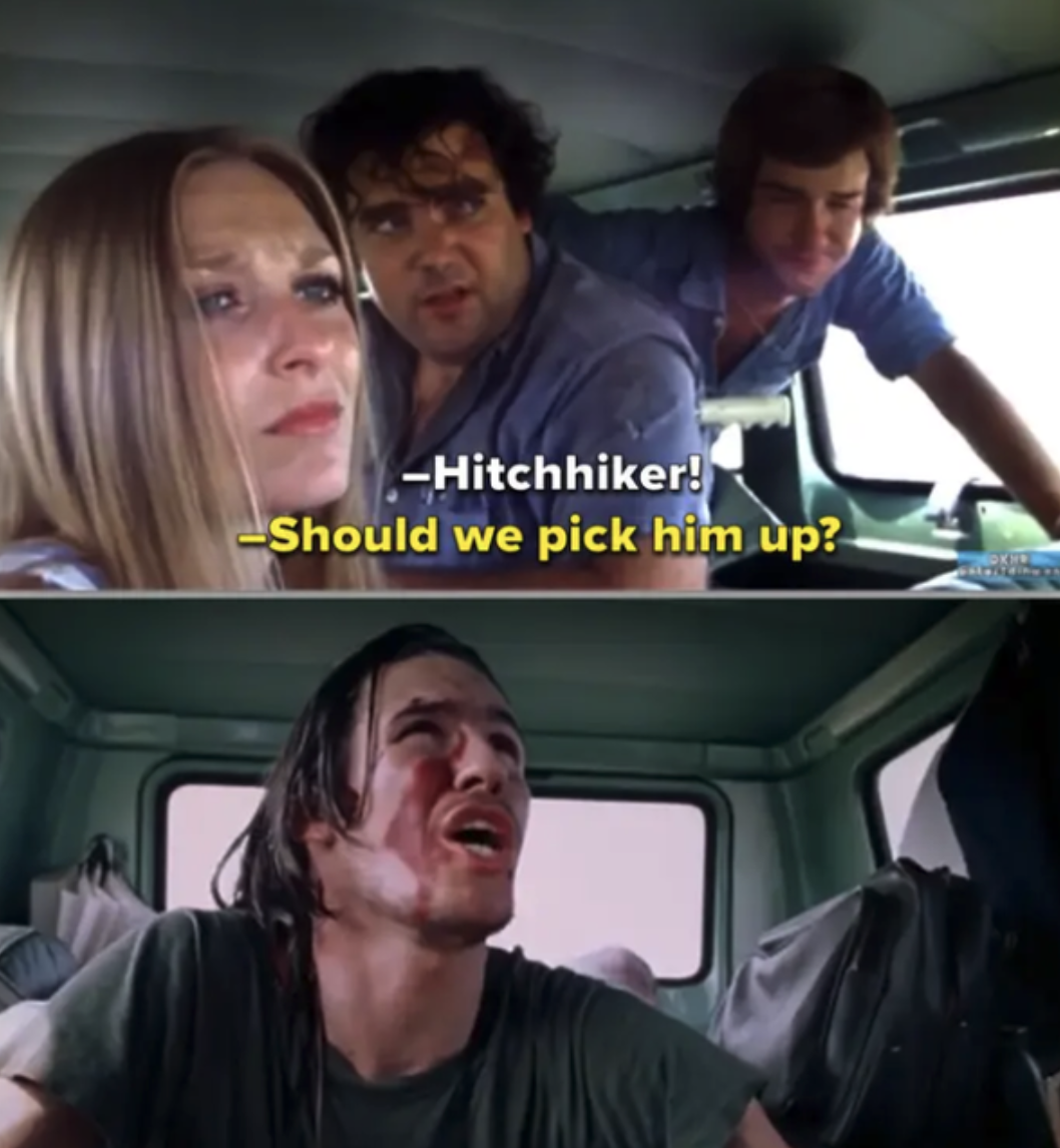 Everyone talking to the hitchhiker they picked up in the car