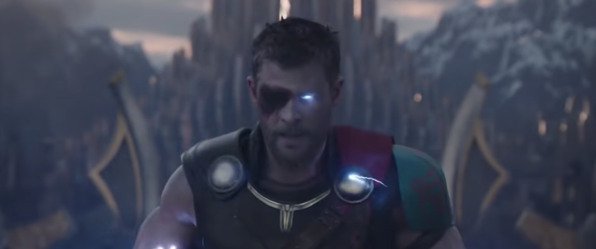 Thor arriving at Bifrost with his powers restored.