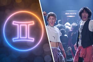 Bill and Ted from Bill & Ted's Excellent Adventure pose excitedly next to an image of a Gemini astrological sign