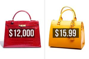 A red crocodile bag that costs $12,000 and a yellow bag with a tassel that costs nearly $16