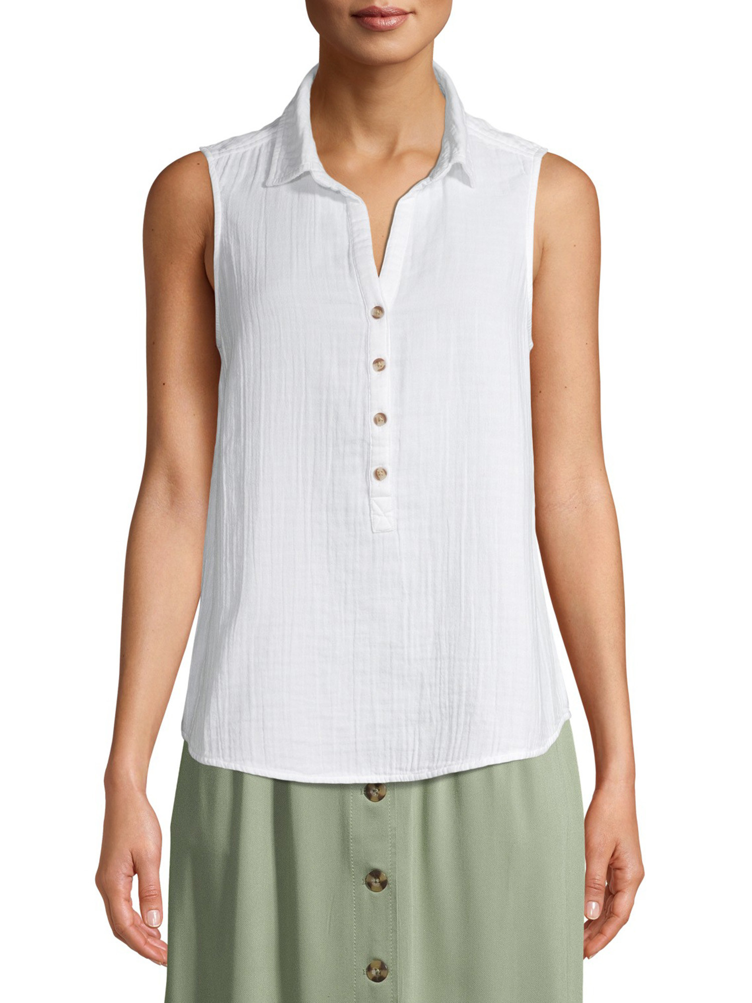 White linen tank with buttons up from the middle to the top