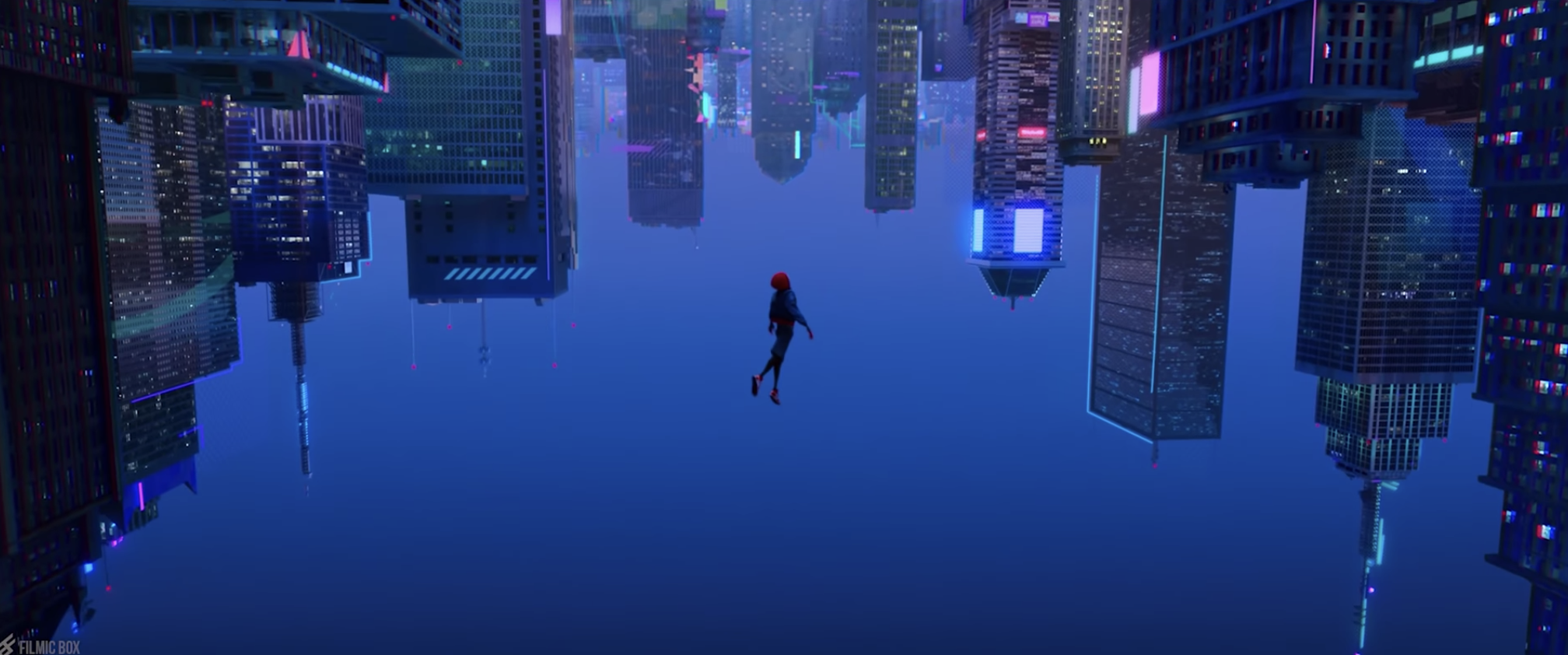 Miles falling from the sky on his descent to becoming Spider-Man.
