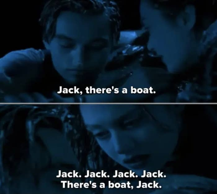 "Rose spotting a boat at the end of ""Titanic"""