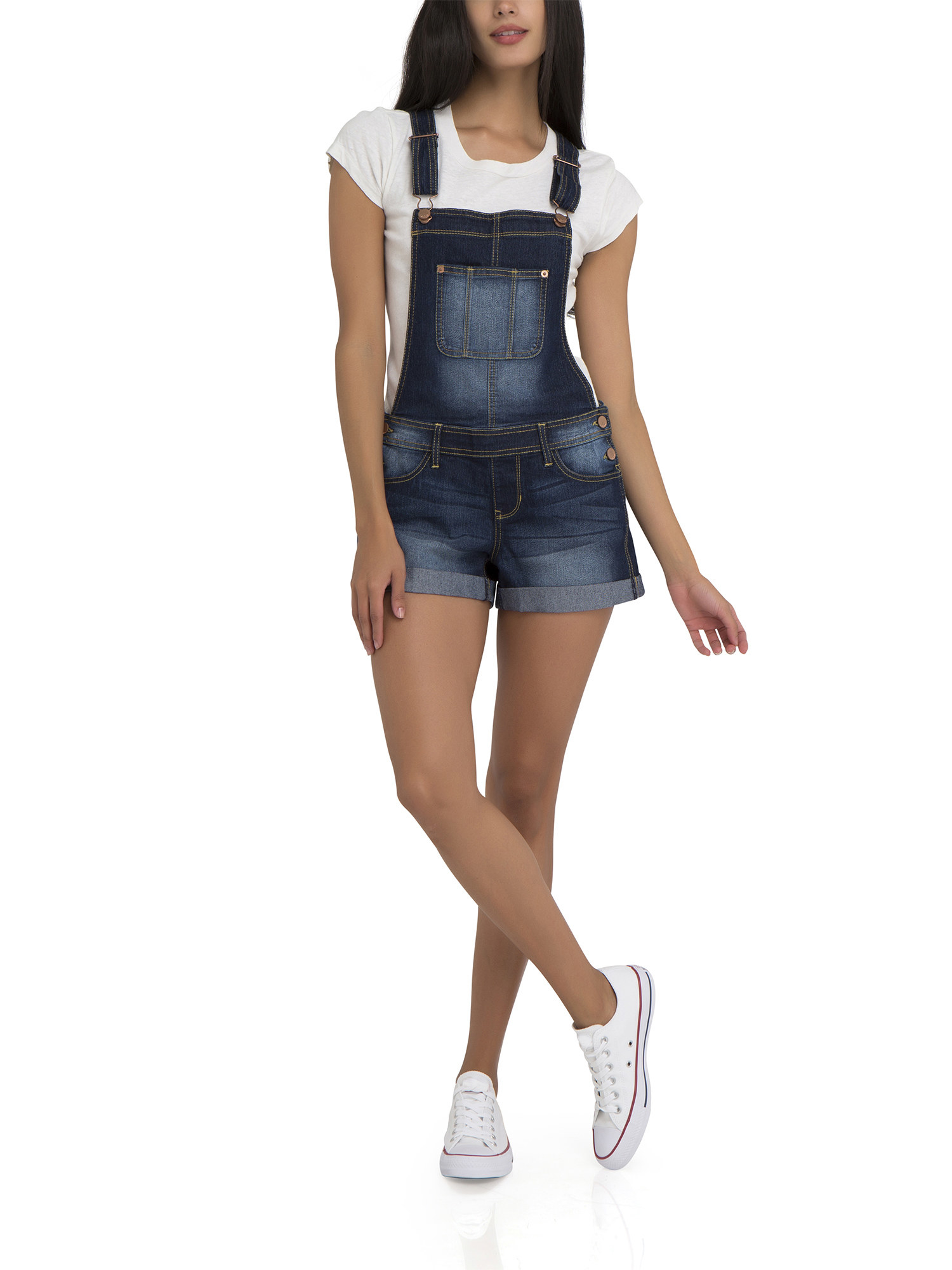 model in dark wash shorts-length overalls