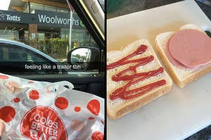 """Side-by-side image of a Coles bag in front of a Woolworths with text, """"feeling like a traitor tbh"""" and an image of a devon and tomato sauce sandwich being made."""