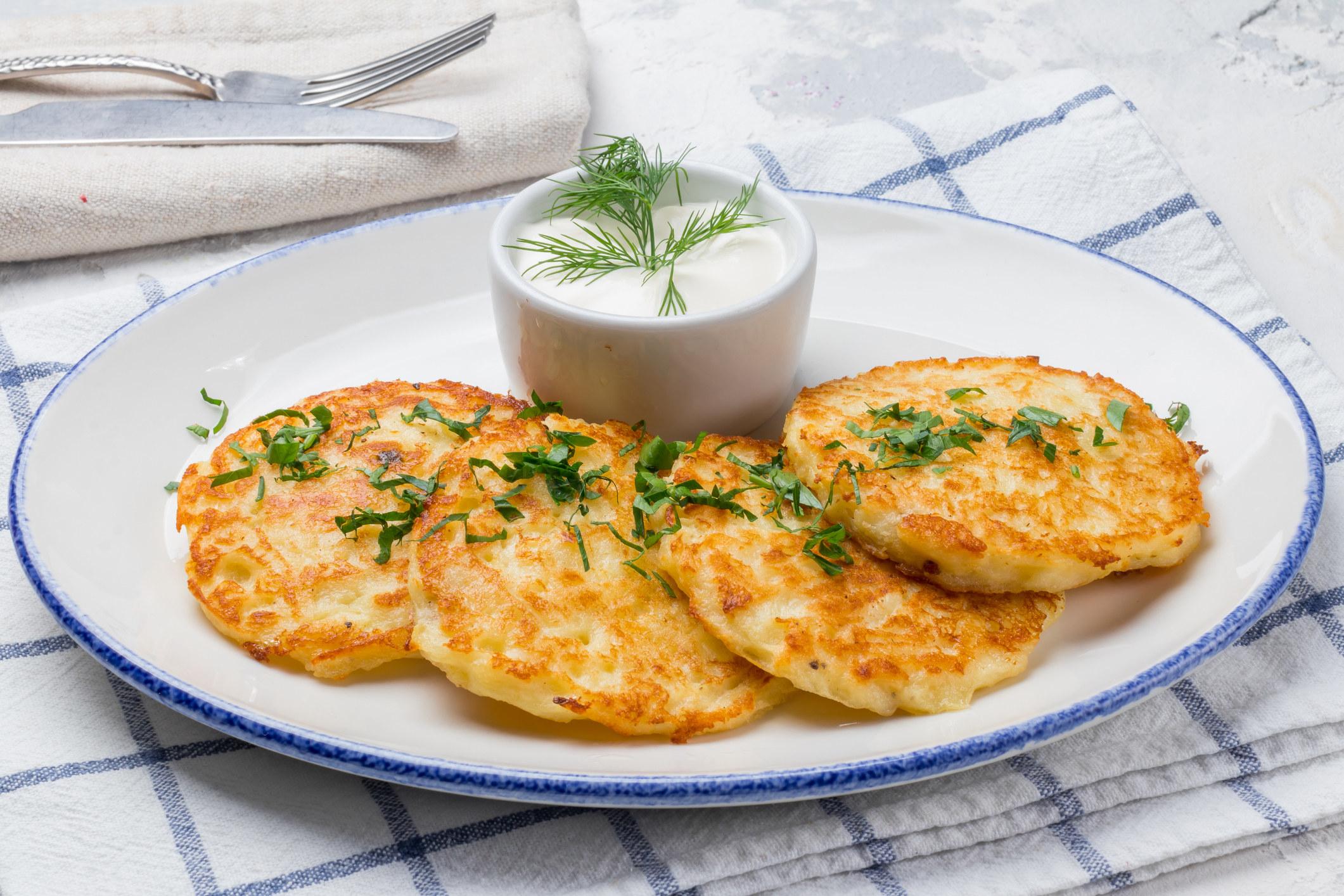 plate of crispy potato pancakes