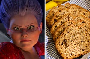 """On the left, the Fairy Godmother from """"Shrek 2,"""" and on the right, slices of banana bread"""
