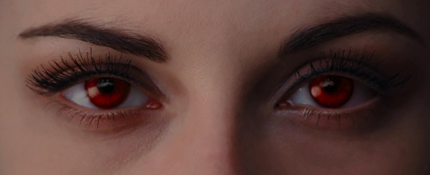 Close up of Bella's eyes as a vampire with red irises