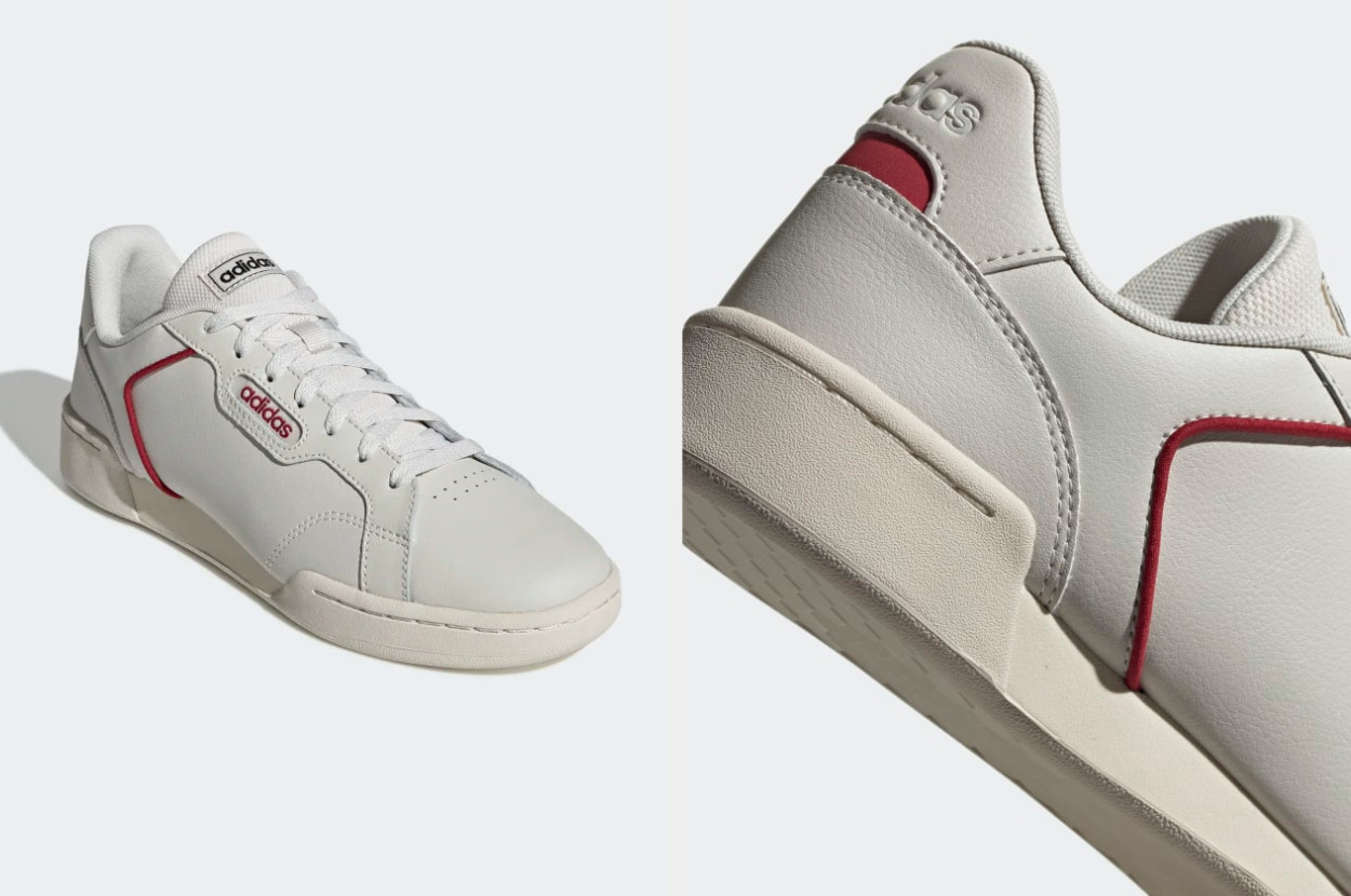 A split-image of the side and back of a raw white Adidas sneaker with maroon trim
