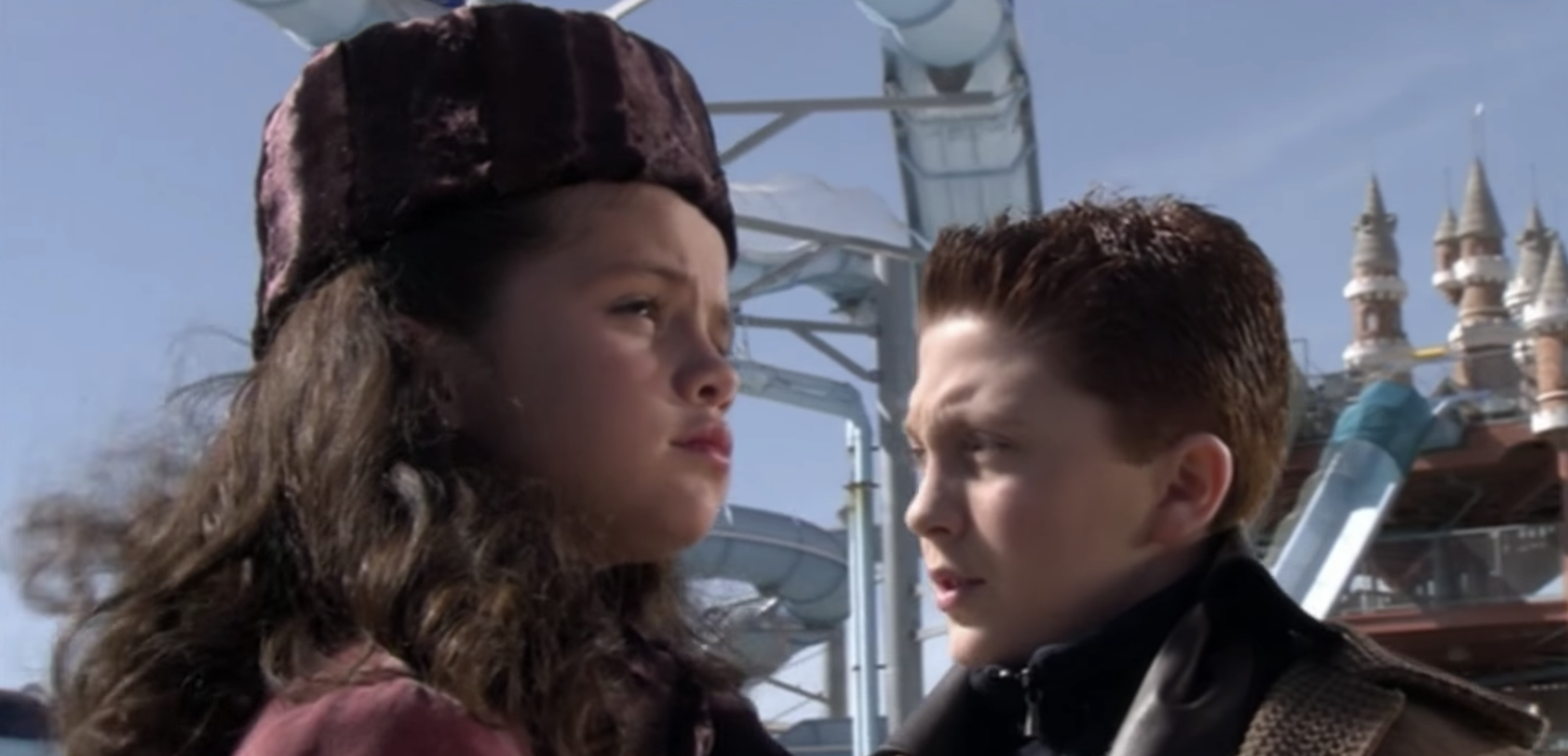 Young Selena gomez and Juni Cortez in a scene in Spy Kids: Game Over