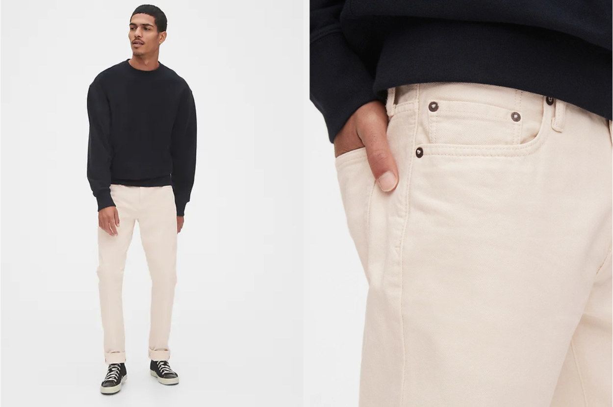 Split image of model wearing desert sand slim jeans and a close-up view of the front pocket and stitching
