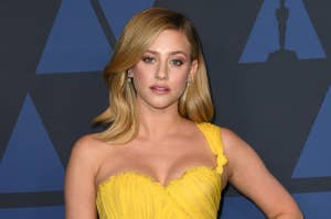 Lili Reinhart wearing a flowing gown at a Hollywood event