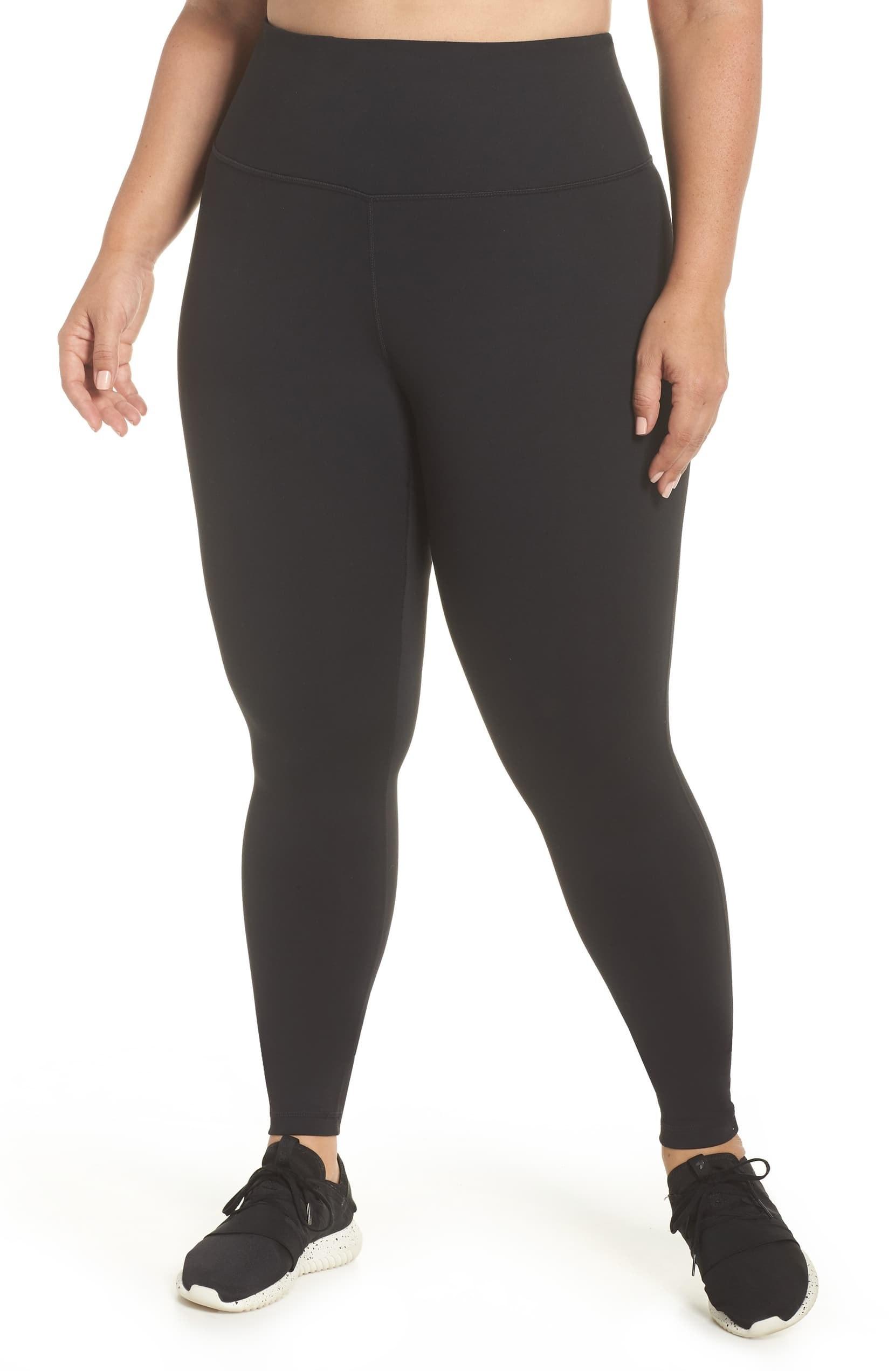 Model wearing Zella Live In High Waist Leggings in black