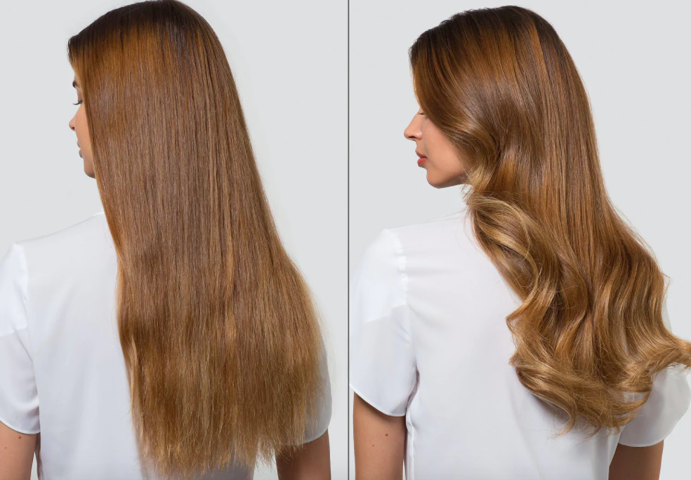 Model's before-and-after of straight hair and then curls