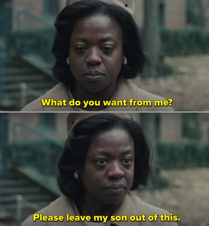 "Viola Davis's character in ""Doubt"" trying to protect her son"