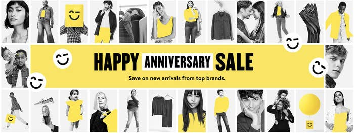 "The Nordstrom Anniversary Sale banner with text ""save on new arrivals from top brands"""
