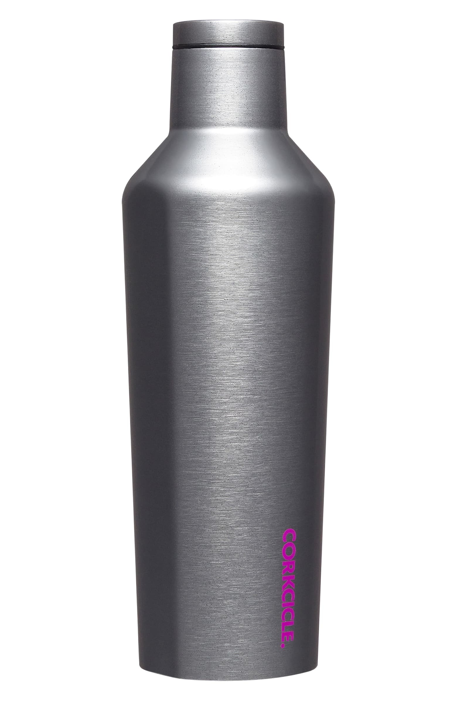 """The silver canteen with a lid on the top and the word """"Corkcicle"""" in purple on the bottom side"""