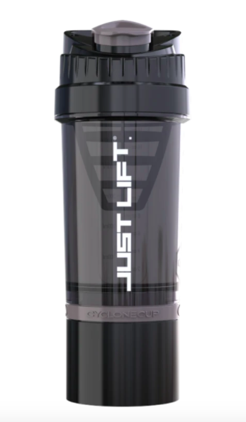 A black Just Lift. Cyclone Shaker with white lettering and a bottom storage capsule