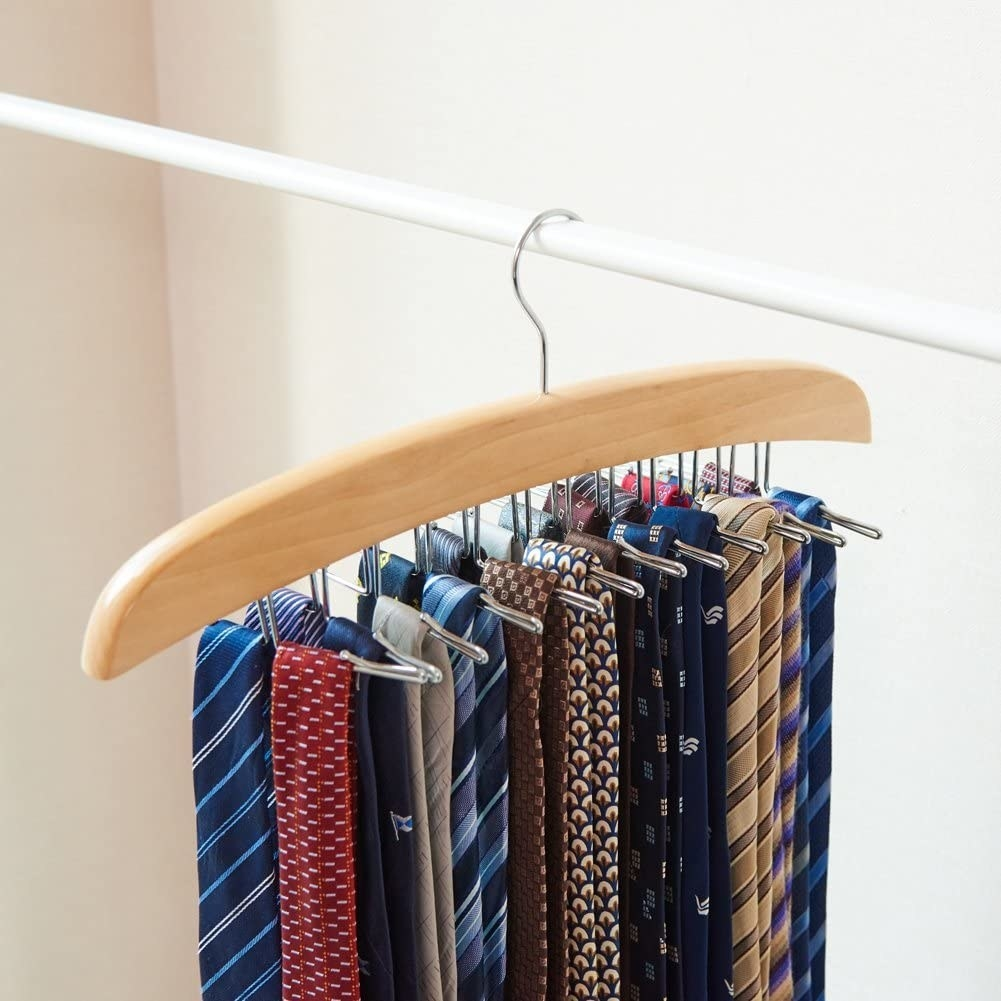 The organizer filled with neatly hung ties on a clothing rack