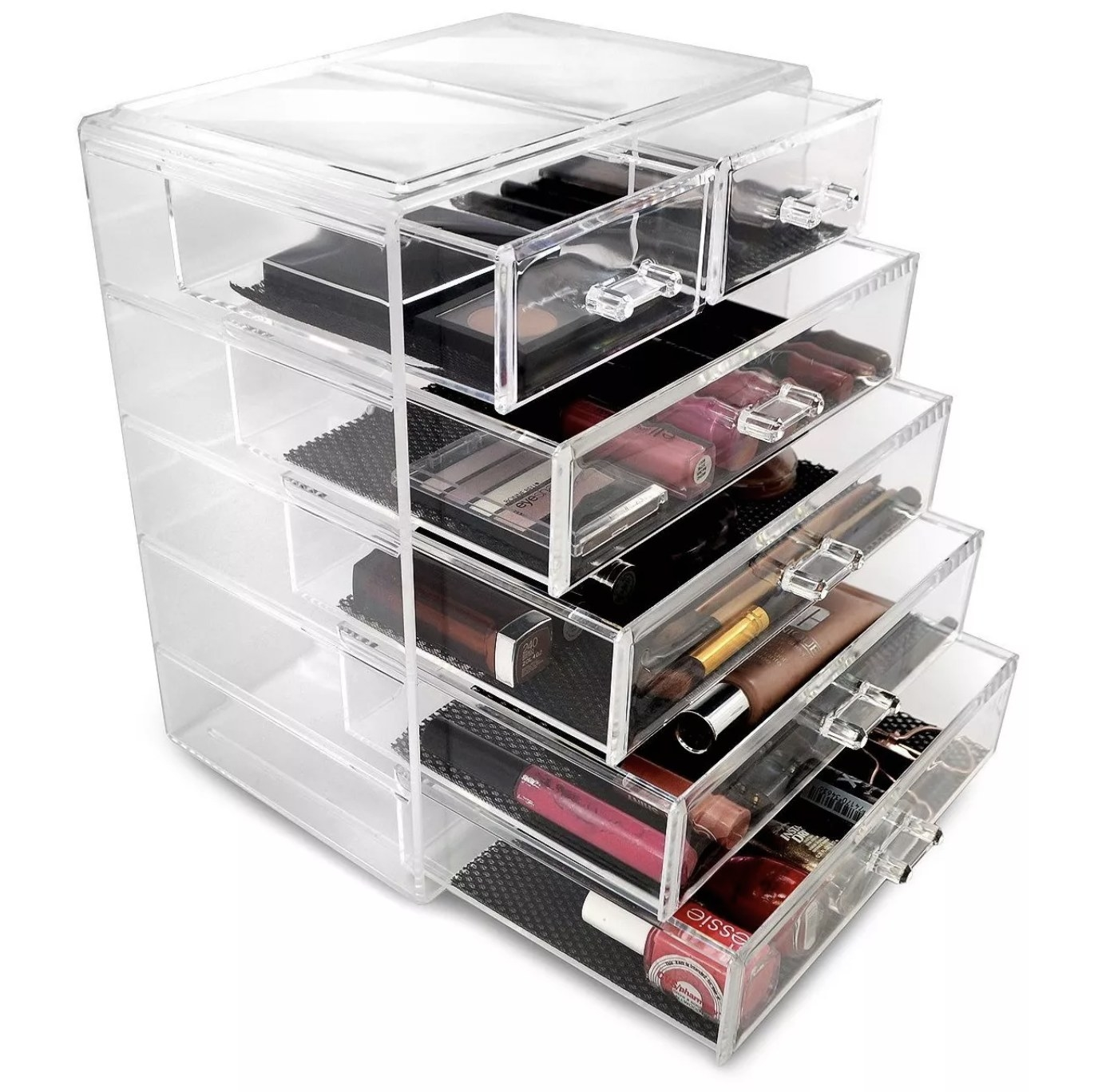 The storage drawers with makeup