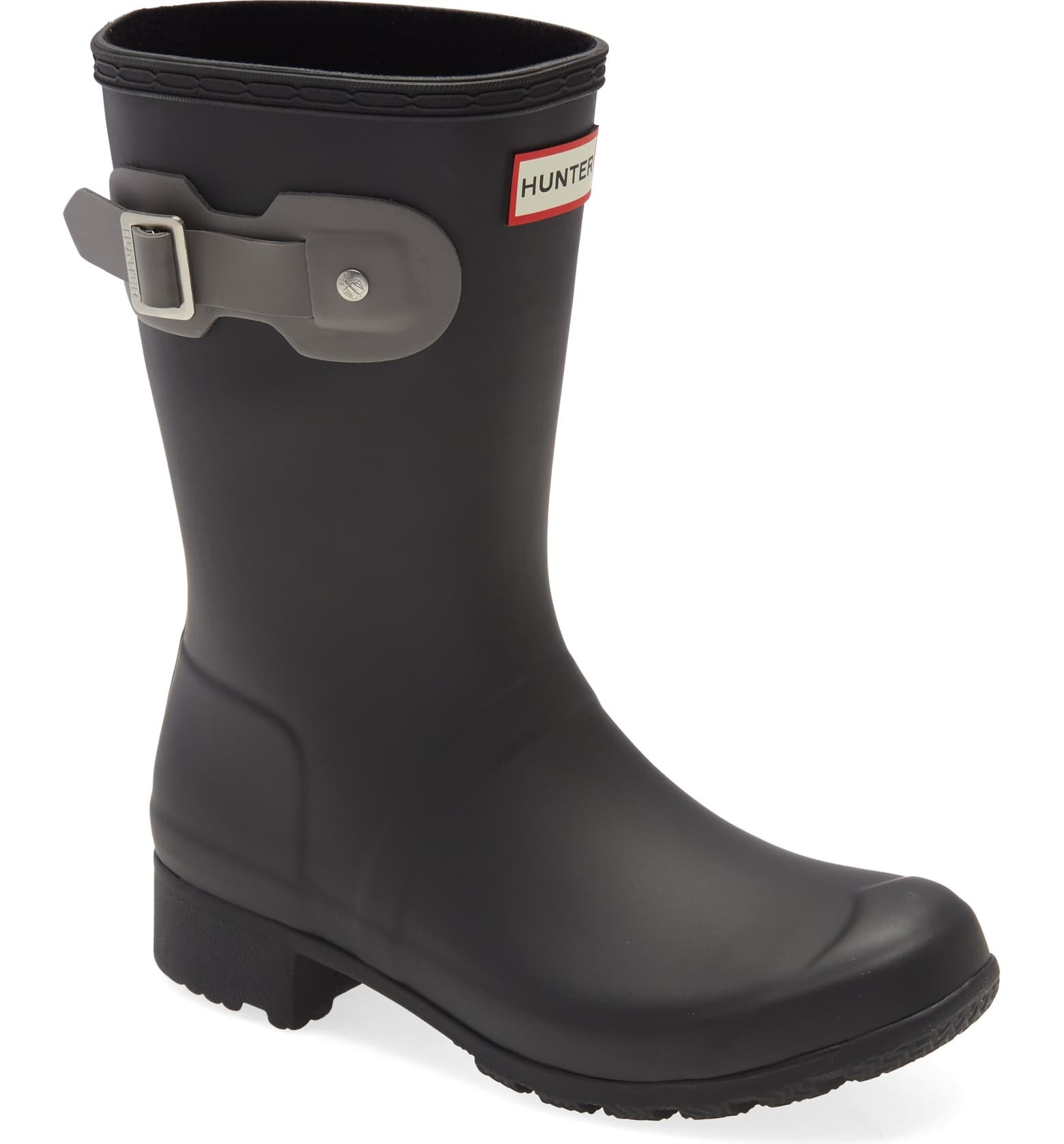 matte black short rubber boots