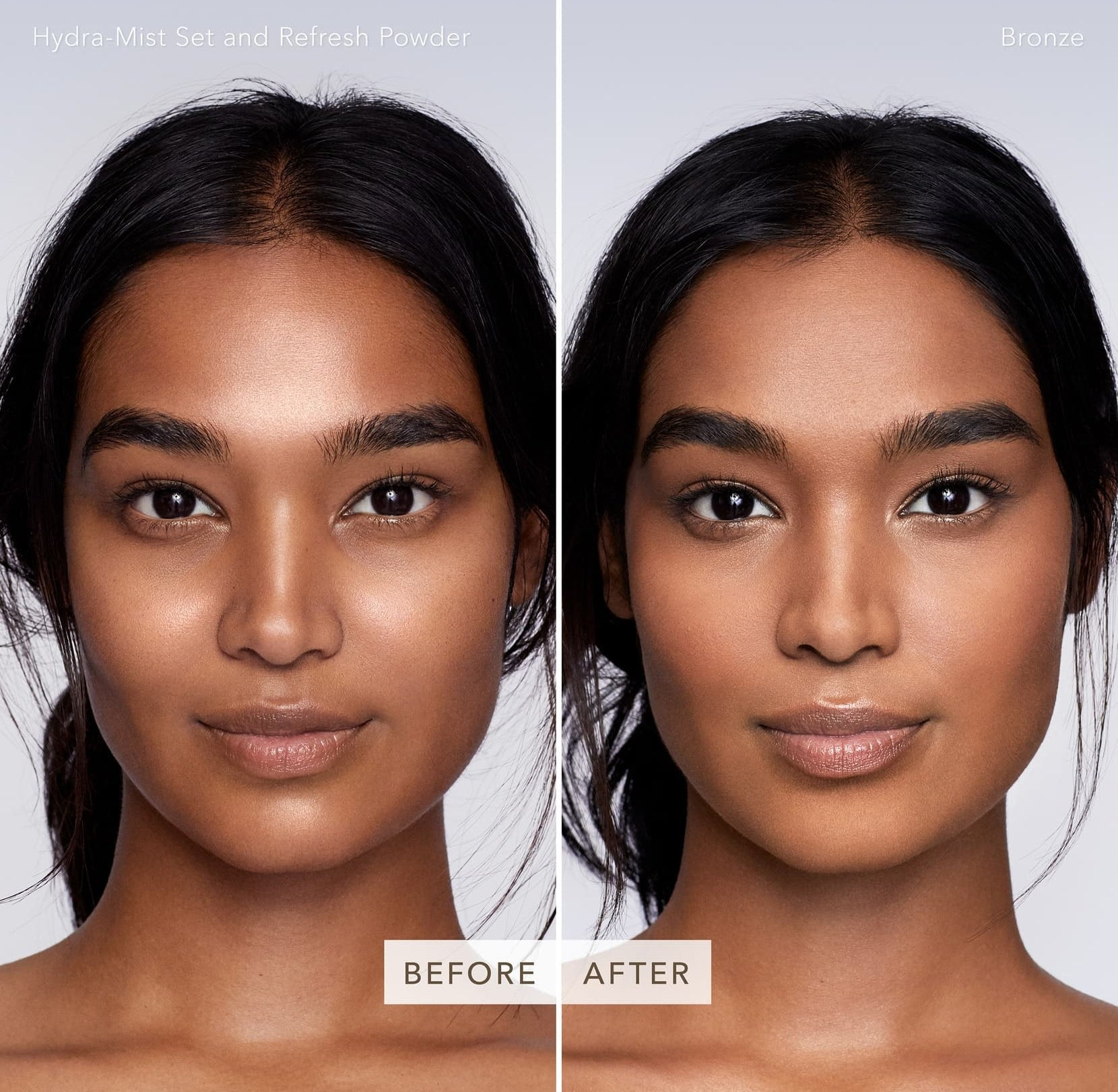 Model's before-and-after to show brightening effects of the powder