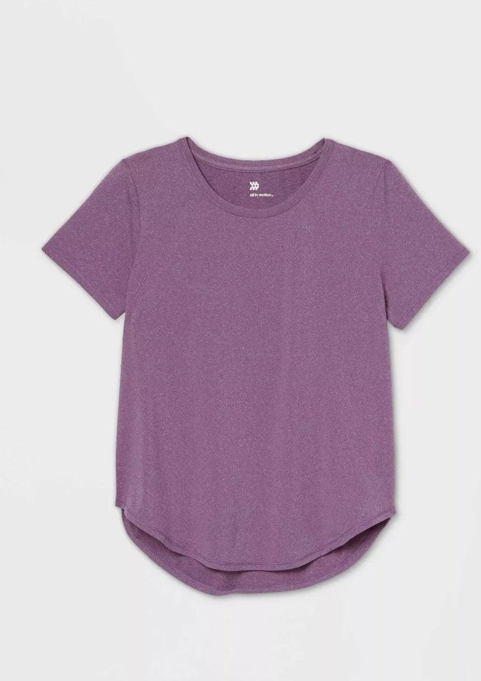 A purple short sleeve top
