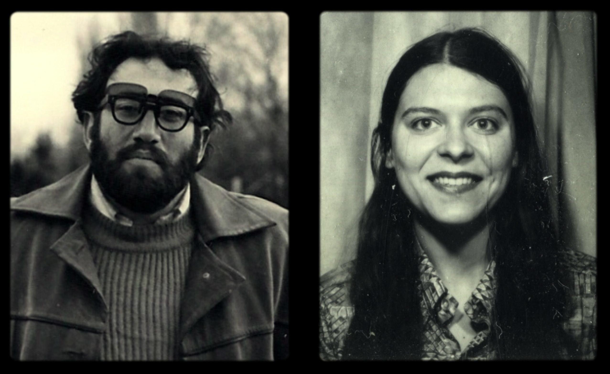Foto de hombre en blanco y negro y foto de mujer en blanco y negro