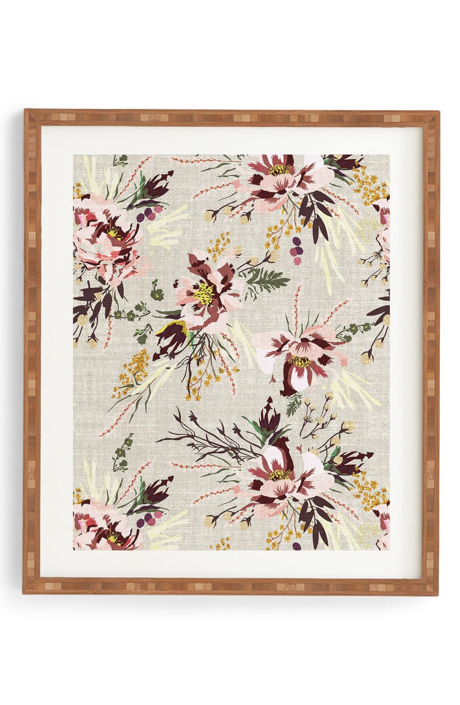 the floral art in a brown frame