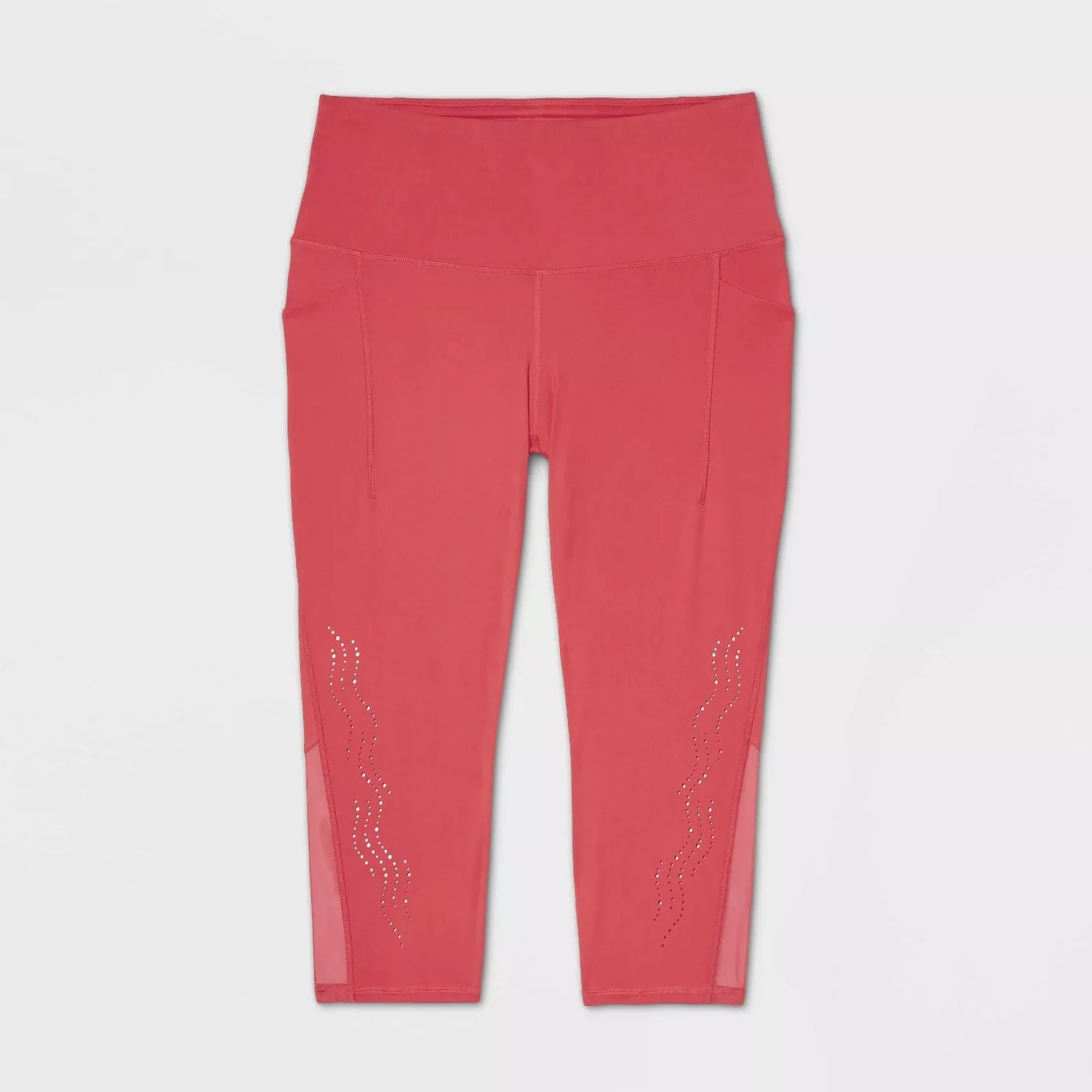 red high-waisted capri leggings with a laser-cut design and mesh on the calves