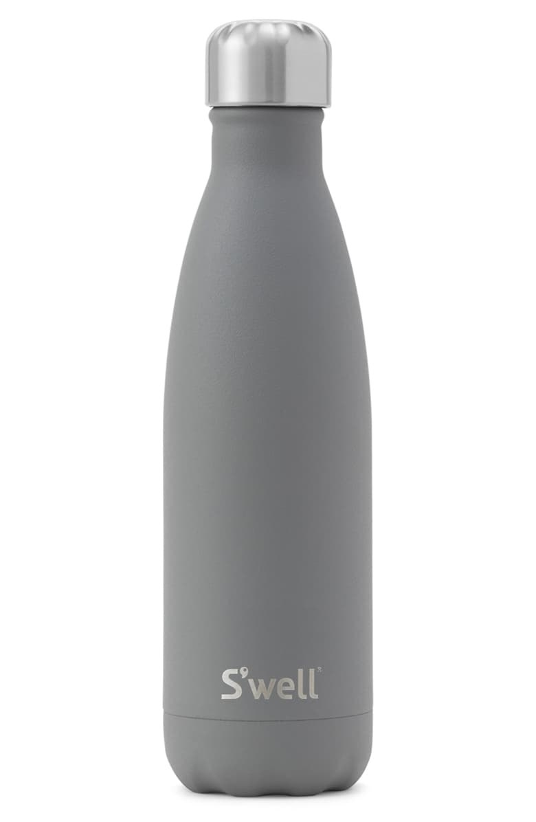 Product photo showing S'well water bottle in smokey quartz