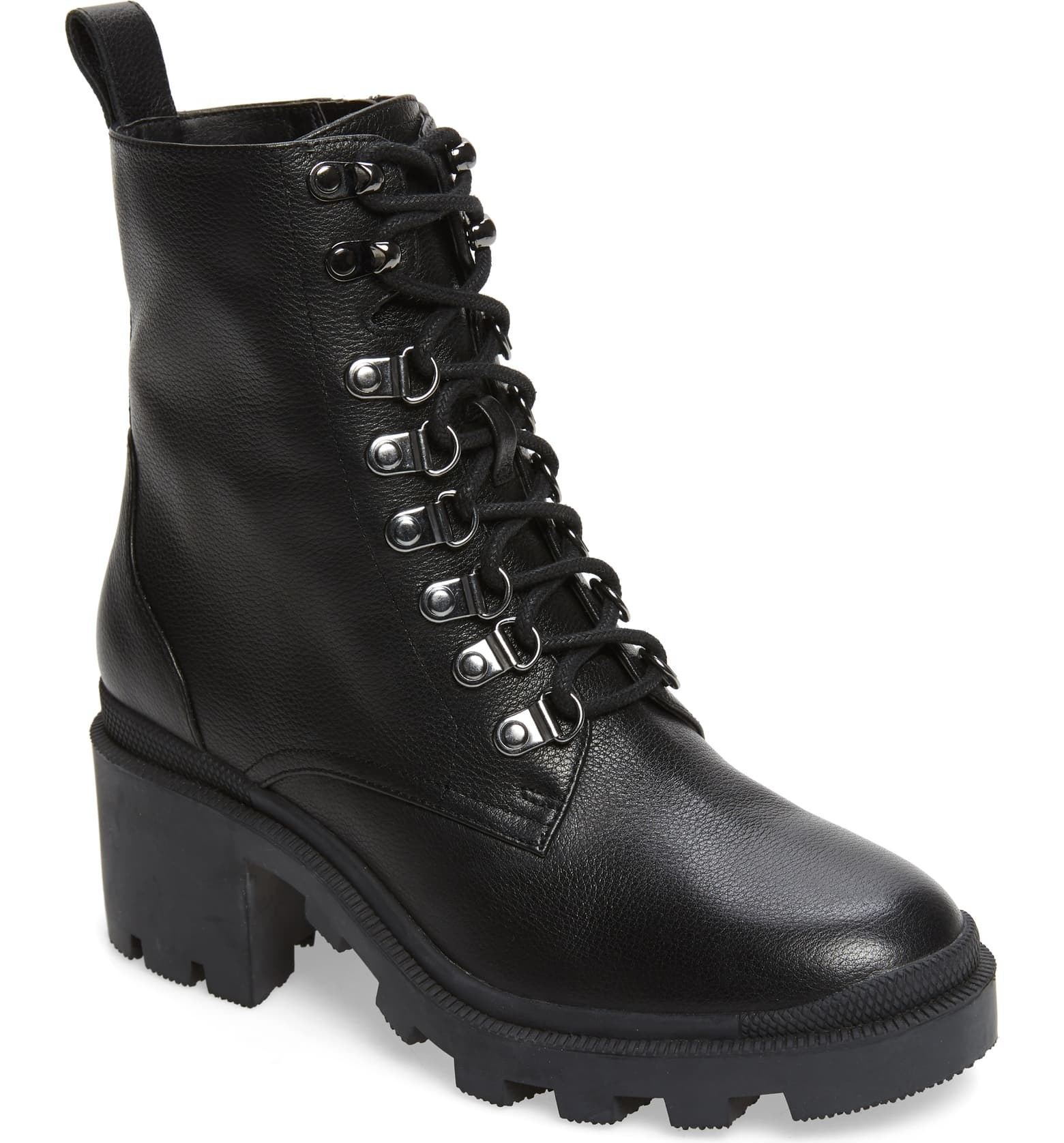 black lace-up combat boots