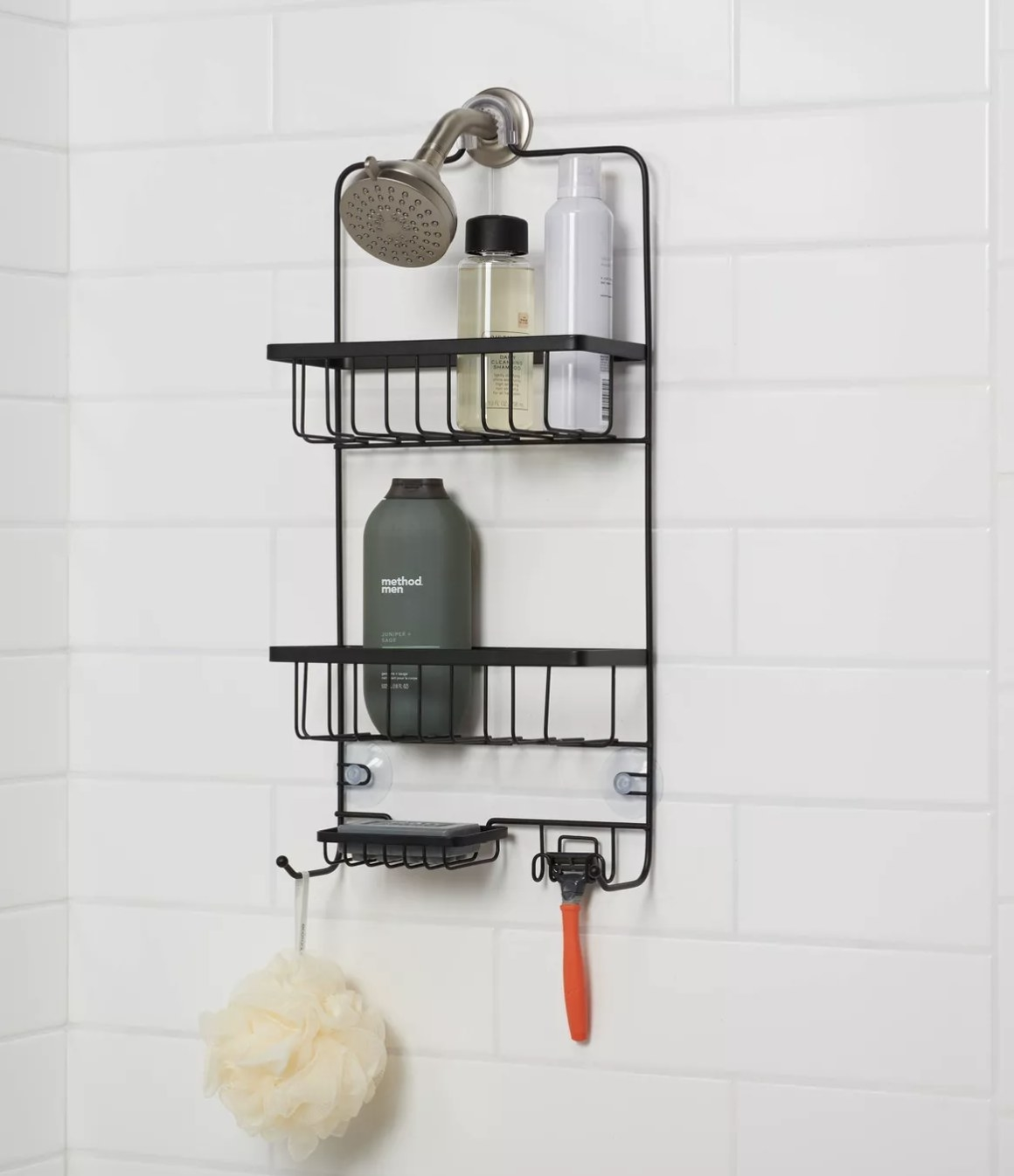 Shower caddy holds soaps and other essentials