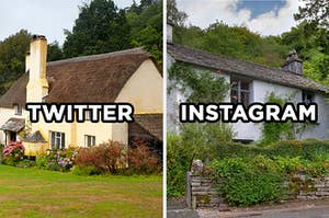 """On the left, a sweet cottage with a thatched roof labeled """"Twitter,"""" and on the right, a cottage on a hill surrounded by greenery labeled """"Instagram"""""""