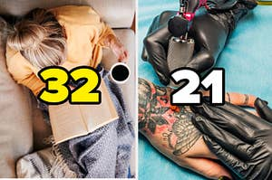 """A girl is pictured with """"32"""" written above her head as she reads a book with a tattoo artist on the right labeled """"21"""""""