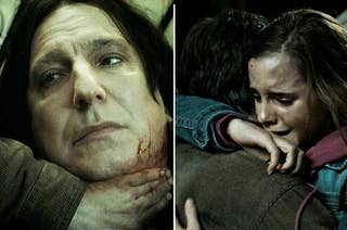 Snape and Harry and Hermione hugging in