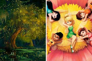 The forest from Princess and the Frog and Tinkerbell and her fairy friends laying on a flower