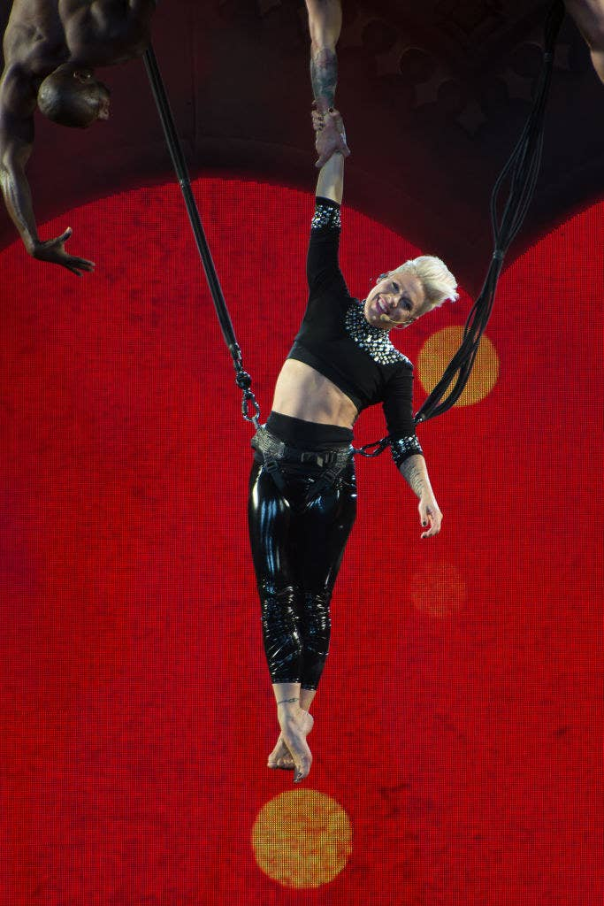 Pink performing at the Prudential Center in 2013