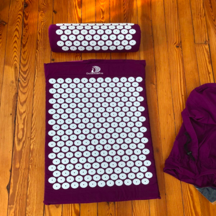 A customer review photo of the Acupressure Mat and Pillow Massage Set