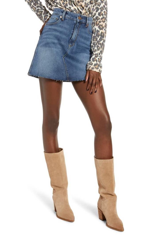 A model wears the STS Blue Emily stretch denim miniskirt